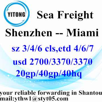 Shenzhen Cheapest Sea Freight rates to Miami