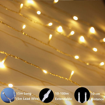 Impermeabile LED Warm White Plug in String Lights