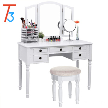 White Vanity Set Tri-folding Mirror Make-up Dressing Table Stool 5 Drawers