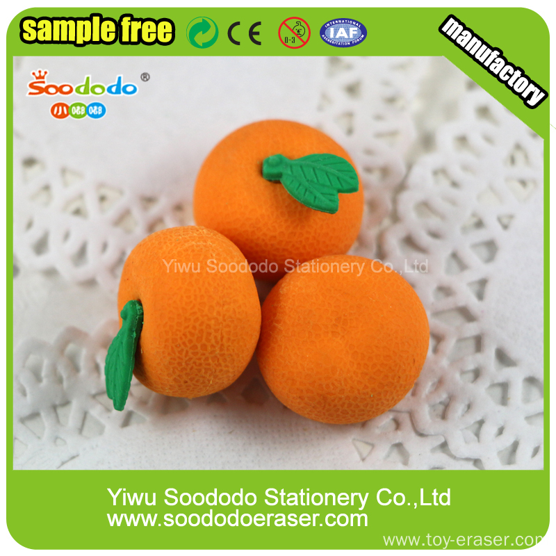Cute Orange Shaped Rubber Eraser Fruit Rubber Sets