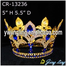 Blue Rhinestone Gold Plated Full Round Crown