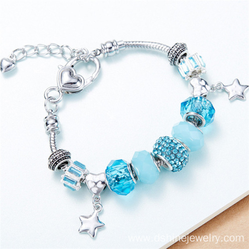 DIY Charm Key Bracelet Glass Bead Crystal Bracelet For Women