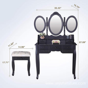 Black Tri Folding Mirror Vanity Dressing Table with 7 Drawers/Stool Makeup Dresser with Mirror Wooden Dressing Table Designs