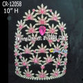 Pink Rhinestone Flower Tiara Princess Bridal Headpiece