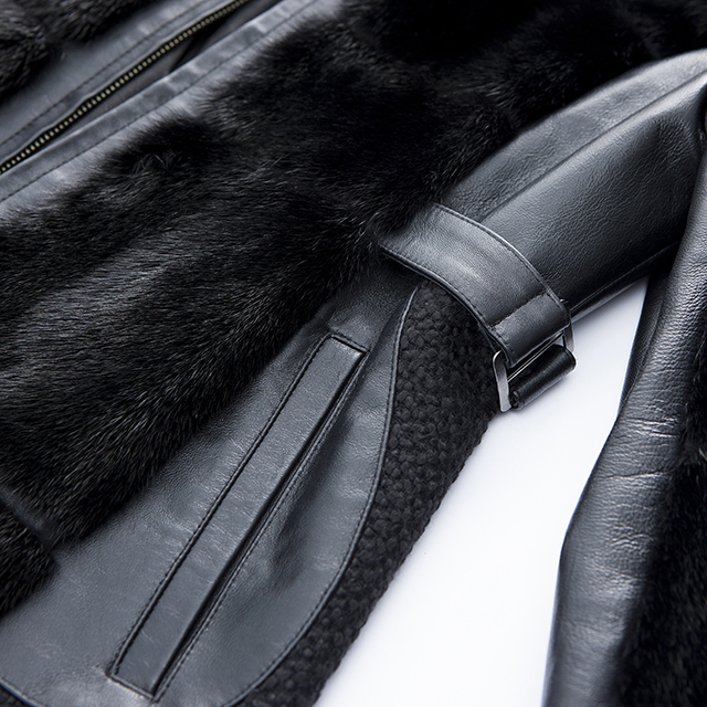 Half-length of black fur cashmere overcoat