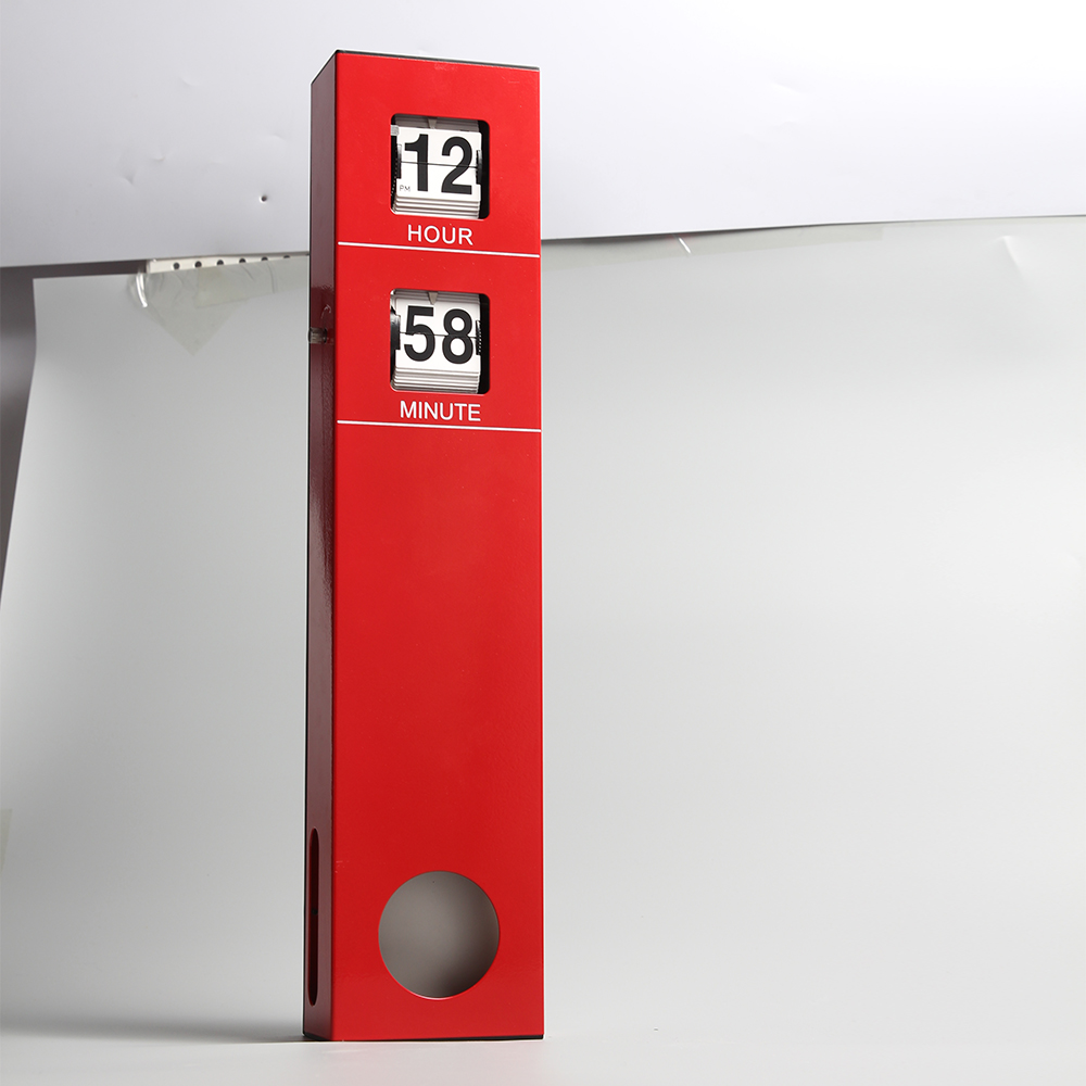 Long Pendulum Wall Flip Clock Red