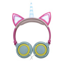 Led Light Wired Kids Unicorn Headphones For Gifts