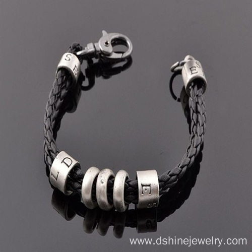 Woven Leather Cord Necklace Retro Male Pendants Necklace