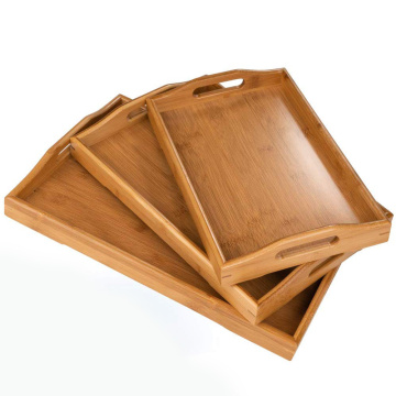 3 PCS NATURAL BAMBOO SERVING TRAY