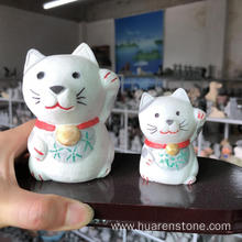 Goods high definition for for Animal Sculpture White jade fortune cat supply to India Manufacturer