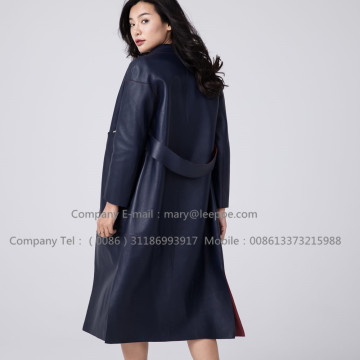 Sheepskin Leather Long Overcoat For Lady