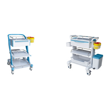 Hospital equipment treatment trolley with drawers