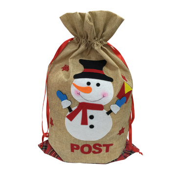 Christmas present sack with snowman pattern