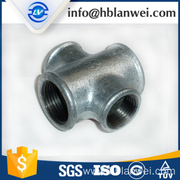 BS galvanized beaded cross M.I. pipe fittings