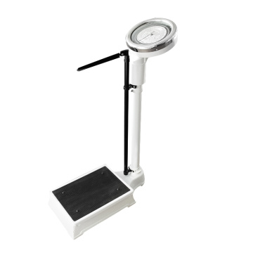 Height measuring stand with weighing scale