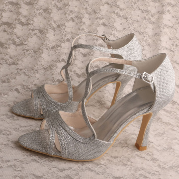 T-strap Sandals Silver for Women Wedding