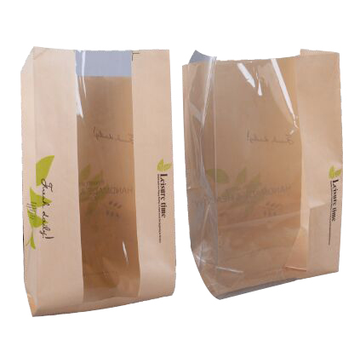 Kraft Paper Bread Packaging Bag With Window