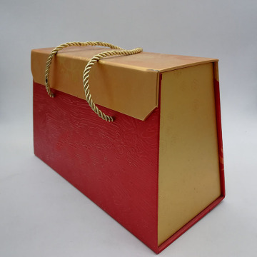 Magnetic Trapezoidal Paper Gold Gift Box With Ribbon