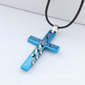 Hide Rope Stainless Steel Man Cross Stainless Steel Necklace