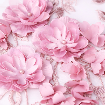 Pink 3D Flower Lace Embroidery Fabric