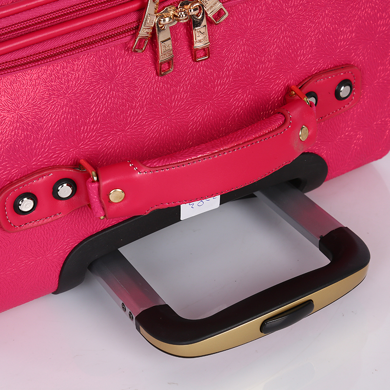 Women girl pink PU travel luggage4