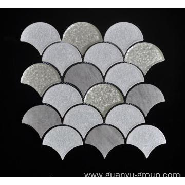 Dark Color Porcelain Glass Mixed Mosaic Tile