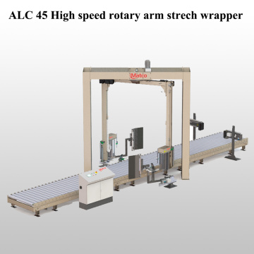 Rotary arm pre-stretch wrapping machine