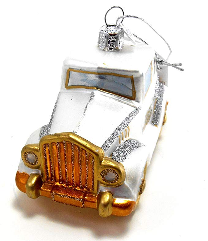 Just-married Car Christmas Hanging Glass Ornaments