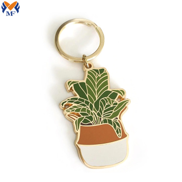 Customized metal enamel cactus plant keychain