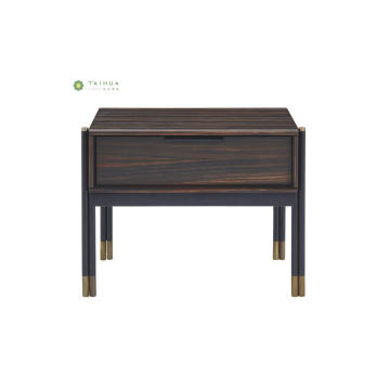 Madilim na Wenge Night Stand with Metal Legs