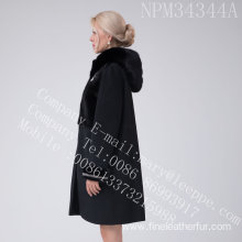 Lady Australia Merino Shearling Coat With Mink Flower