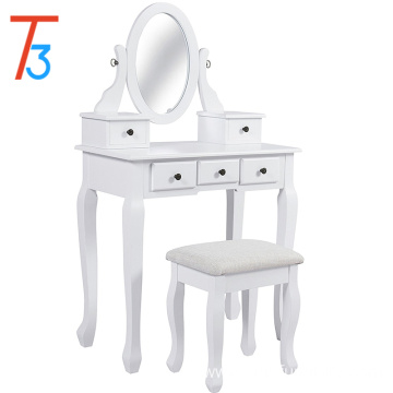 White Vanity Table and Stool Set Makeup Desk 5 Drawers