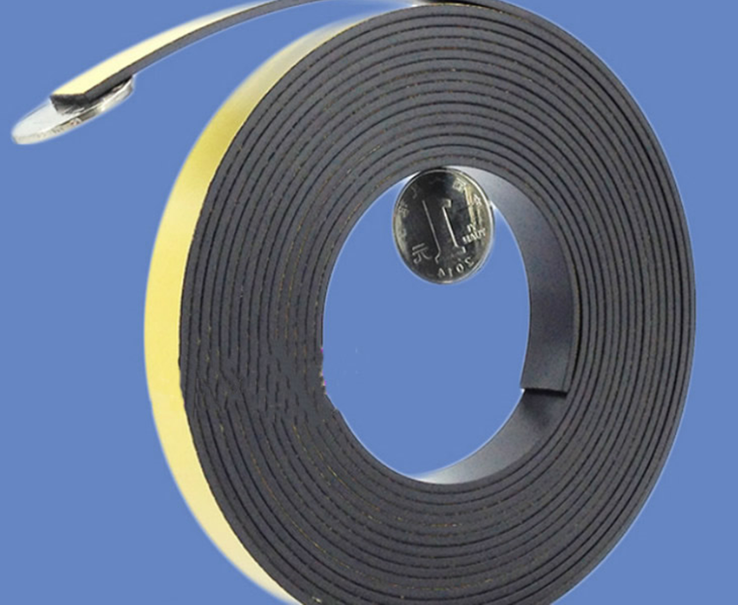 Rubber magnet strip with adhesive