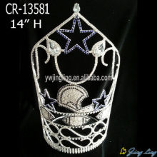 "Leading for China Angel Wing Shape Beauty Pageant Crowns and Tiaras, Glitz King Crowns. 14"" Ship Star Rhinestone Pageant Crowns Party supply to Faroe Islands Factory"