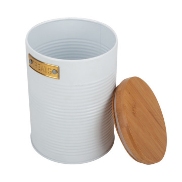White kitchen metal canister bamboo lid