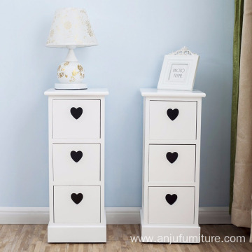 3 Drawers Elegant Heart Shape Pair of white Bedside Tables  Pair of Bedside Tables White Chest of 3 Drawers Elegant Heart Shape