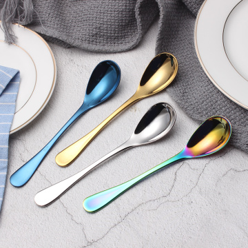 High Quality Colorful Metal Gold Dessert Spoon
