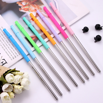 Color Juice Stainless Straws with long Silicone Tips