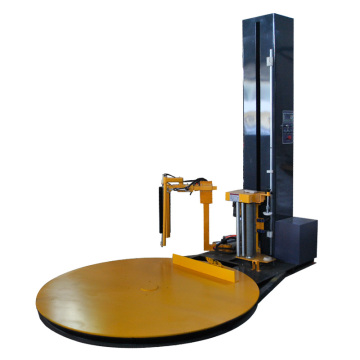 Pallet wrapping machine with automatic clamp ant cut