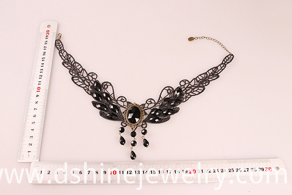Black lace butterfly necklace