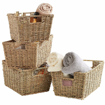 Set of 4 Seagrass Storage Baskets with Insert Handles Set of 4 Seagrass Storage Baskets with Insert Handles