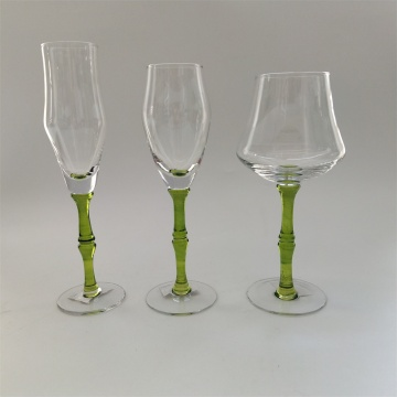 Creative design bamboo joint stem wine glass