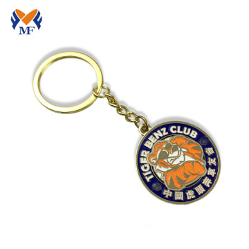 Metal gold enamel coin keychain holder
