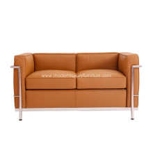 Brown Leather Le Corbusier LC2 2 Seat Sofa