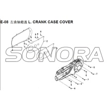 E-08 L. CRANK CASE COVER XS150T-8 CROX For SYM Spare Part Top Quality