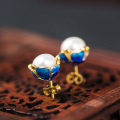Wholesale 925 Sterling Silver Ear Stud Cloisonne Flower Freshwater Pearl Earrings