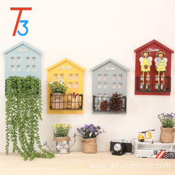 Factory wooden decorative floating home wall shelf storage organizer