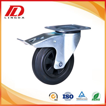 5'' rubber wheel plate caster with lock