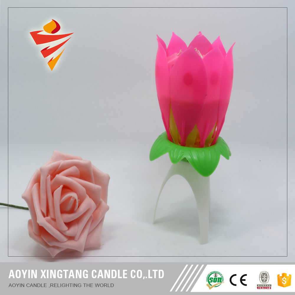 Romantic Musical Lotus Flower the magic candle