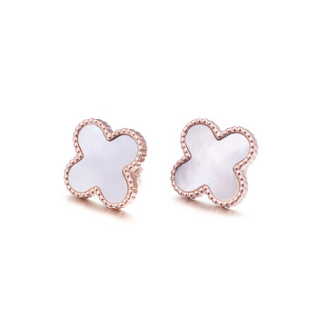 Girls four leaf clover earrings studs